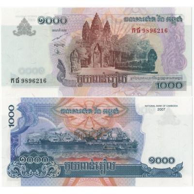 Kambodža - bankovka 1000 Riels 2007 UNC