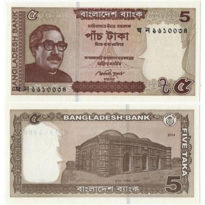 Bangladéš - bankovka 5 taka 2014 UNC