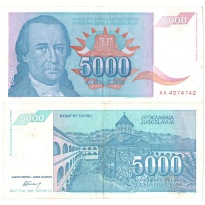Jugoslávie - bankovka 5000 dinara 1994