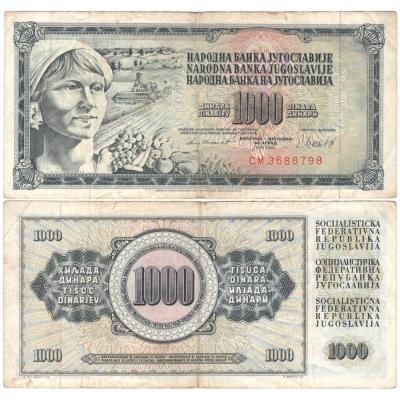 Jugoslávie - bankovka 1000 dinara 1981