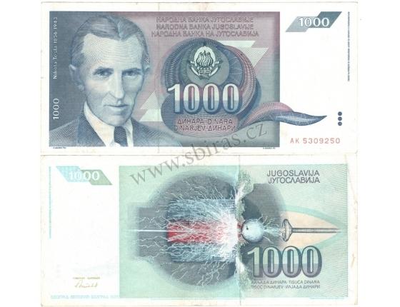 Jugoslávie - bankovka 1000 dinara 1991