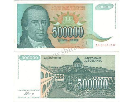Jugoslávie - bankovka 500 000 dinara 1993