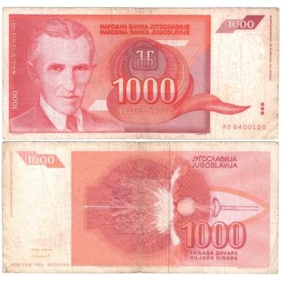 Jugoslávie - bankovka 1000 dinara 1992