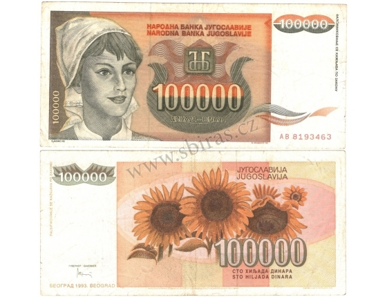Jugoslávie - bankovka 100 000 dinara 1993