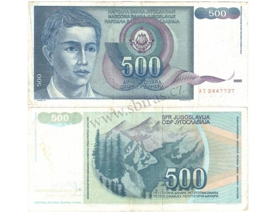 Jugoslávie - bankovka 500 dinara 1990