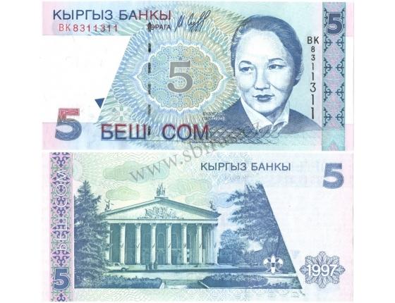 Kyrgystán - bankovka 5 som 1997 UNC
