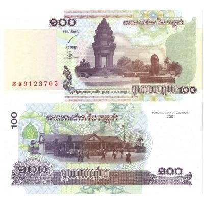 Kambodža - bankovka 100 Riels 2001 UNC