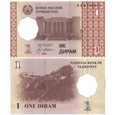 Tádžikistán - bankovka 1 dirham 1999 UNC, série AA