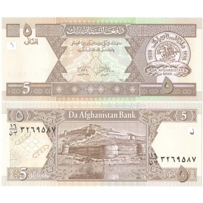Afghánistán - bankovka 5 afghanis UNC