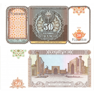 Uzbekistán - bankovka 50 cym 1994 UNC
