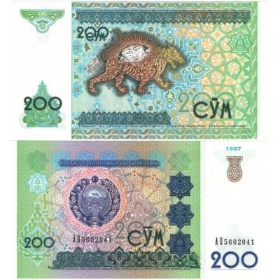 Uzbekistán - bankovka 200 cym 1997 UNC
