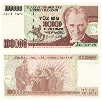 Turecko - bankovka 100000 lirasi 1970 UNC