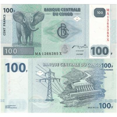 Kongo - bankovka 100 francs 2007 UNC