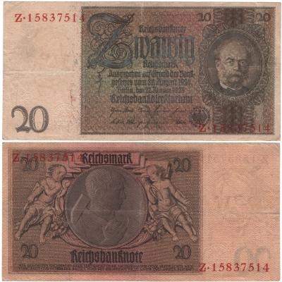 Německo - bankovka 20 Marek 1929, série Z