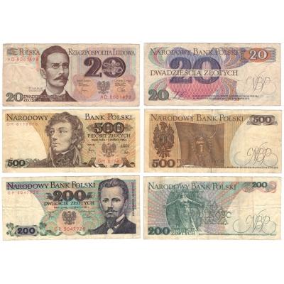 Polsko - sada bankovek 1982, 20, 200 a 500 zlotych