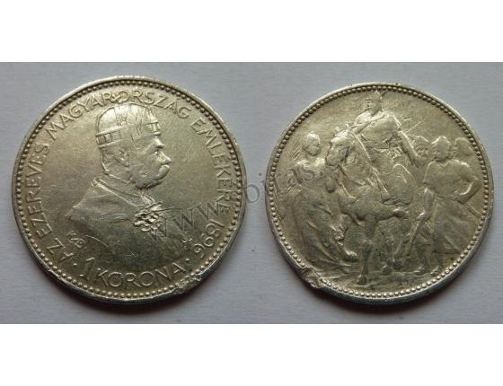 1 koruna 1896 KB - pamětní na příchod Maďarů