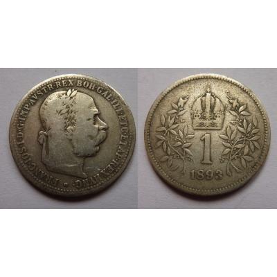 František Josef I. - stříbrná mince 1 koruna 1893
