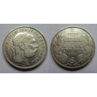 František Josef I. - stříbrná mince 1 koruna 1896