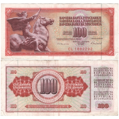 Jugoslávie - 100 dinárů 1986