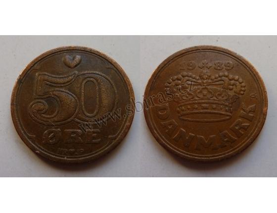 Dánsko - mince 50 ore 1989