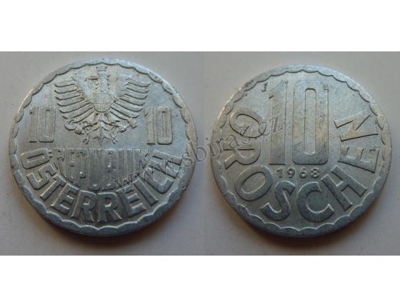 Rakousko - mince 10 groschen 1968