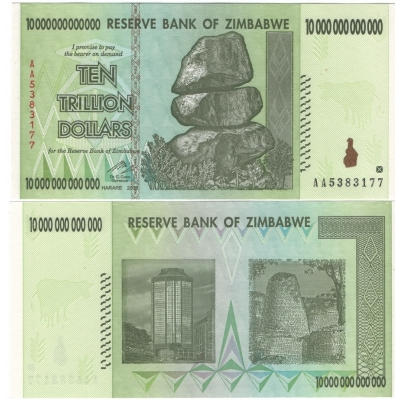 Zimbabwe - bankovka 10 trillion dollars 2008 UNC, série AA