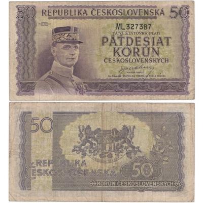 50 korun 1945, neperforovaná, série ML