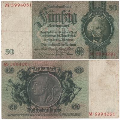 Německo - bankovka Reichsbanknote 50 marek 1933