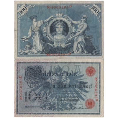 Německé císařství - bankovka Reichsbanknote 100 marek 1908, červený číslovač
