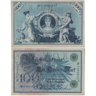 Německé císařství - bankovka Reichsbanknote 100 marek 1908, zelený číslovač