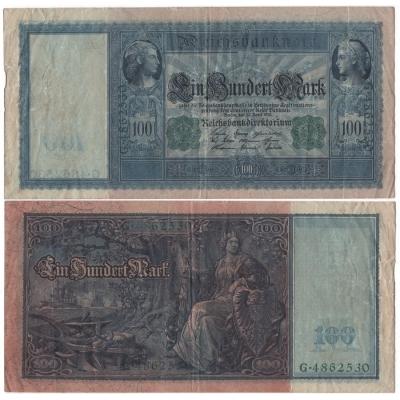 Německé císařství - bankovka 100 marek 1910, zelený číslovač, modrý papír