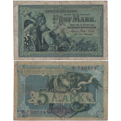 Německé císařství - bankovka 5 marek 1904