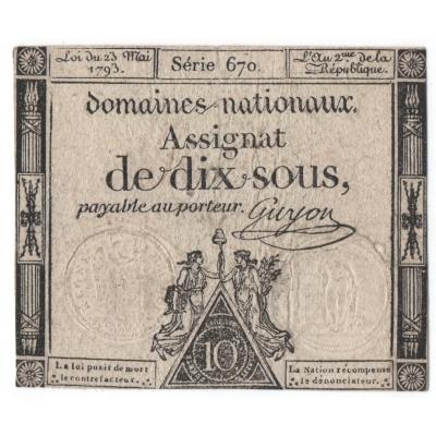 Francie - bankovka 10 Sols 1793