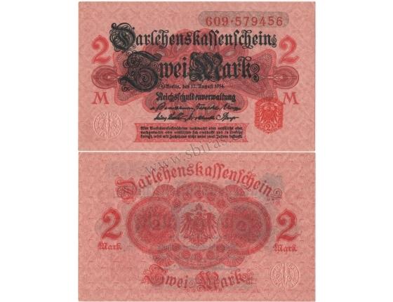 Německé císařství - bankovka 2 Marky 1914 (UNC)