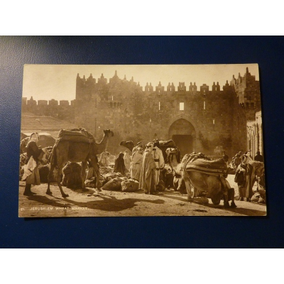 Asia - postcard Jerusalem wheat market (1929)
