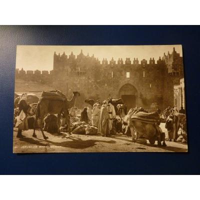 Asie - pohlednice Jeruzalém, trh s pšenicí (1929)