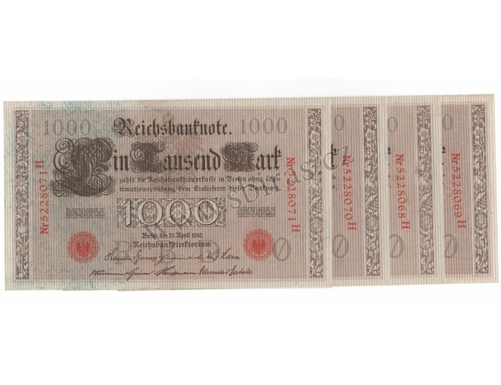 4x Německé císařství - bankovka Reichsbanknote 1000 marek 1910, červené pečetě, po sobě jdoucí sériová čísla