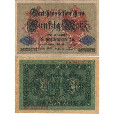 Německé císařství - bankovka Darlehenskassenschein 50 marek 1914