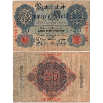Německé císařství - bankovka Reichsbanknote 20 marek 1914