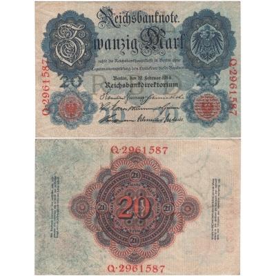 Německé císařství - bankovka Reichsbanknote 20 marek 1914, 7-místný číslovač