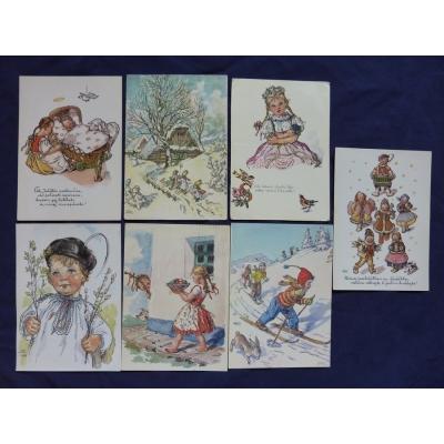 Marie Fischerová - Kvěchová, soubor pohlednic