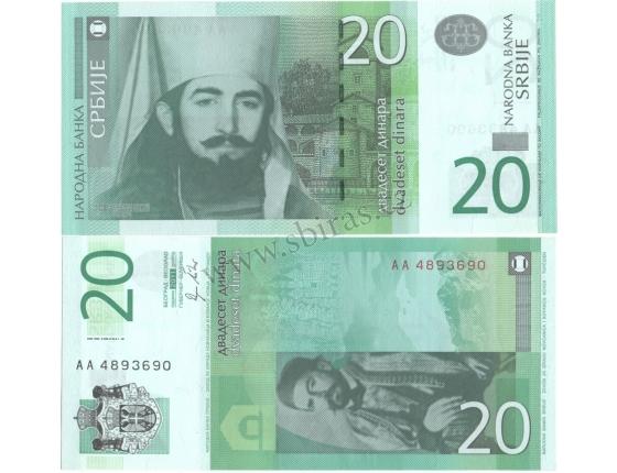 Srbsko - bankovka 20 dinara 2011, série AA, UNC