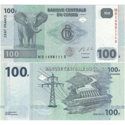 Kongo - bankovka 100 francs 2013 UNC