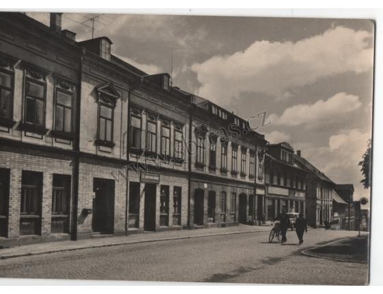 Jiřetín pod Jedlovou, náměstí Klementa Gottwalda - pohlednice černobílá