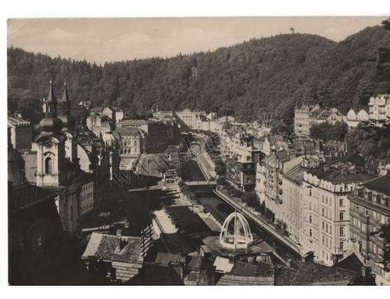 Karlovy Vary 1960 - pohlednice černobílá