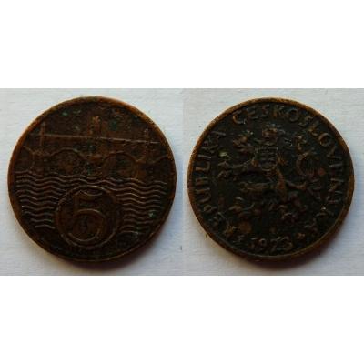 Československo - mince 5 haléřů 1923