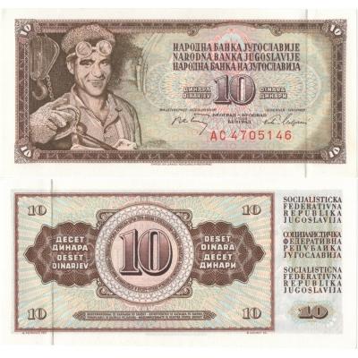 Jugoslávie - bankovka 10 dinara 1968 UNC