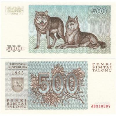 Litva - bankovka 500 Talonas 1993 UNC
