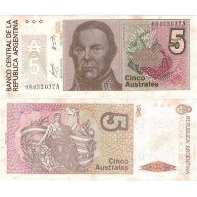 Argentina - bankovka 5 australes 1986