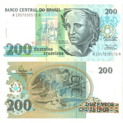Brazílie - bankovka 200 cruzeiros 1990 UNC, série A